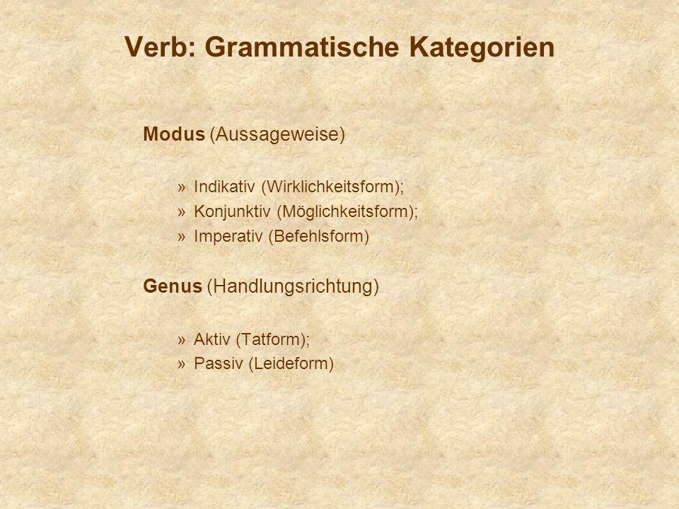 Verb: Grammatische Kategorien Modus (Aussageweise) »Indikativ (Wirklichkeitsform); »Konjunktiv (Möglichkeitsform); »Imperativ (Befehlsform) Genus (Handlungsrichtung) »Aktiv (Tatform); »Passiv (Leideform)