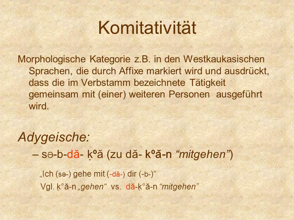 Komitativität Morphologische Kategorie z.B. in den Westkaukasischen Sprachen, die durch Affixe markiert wird und ausdrückt, dass die im Verbstamm beze