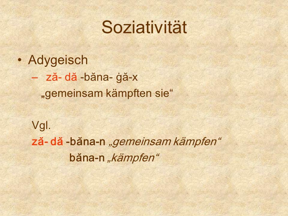 Soziativität Adygeisch – ză- dă -băna- ġă-x gemeinsam kämpften sie Vgl. ză- dă -băna-n gemeinsam kämpfen băna-n kämpfen