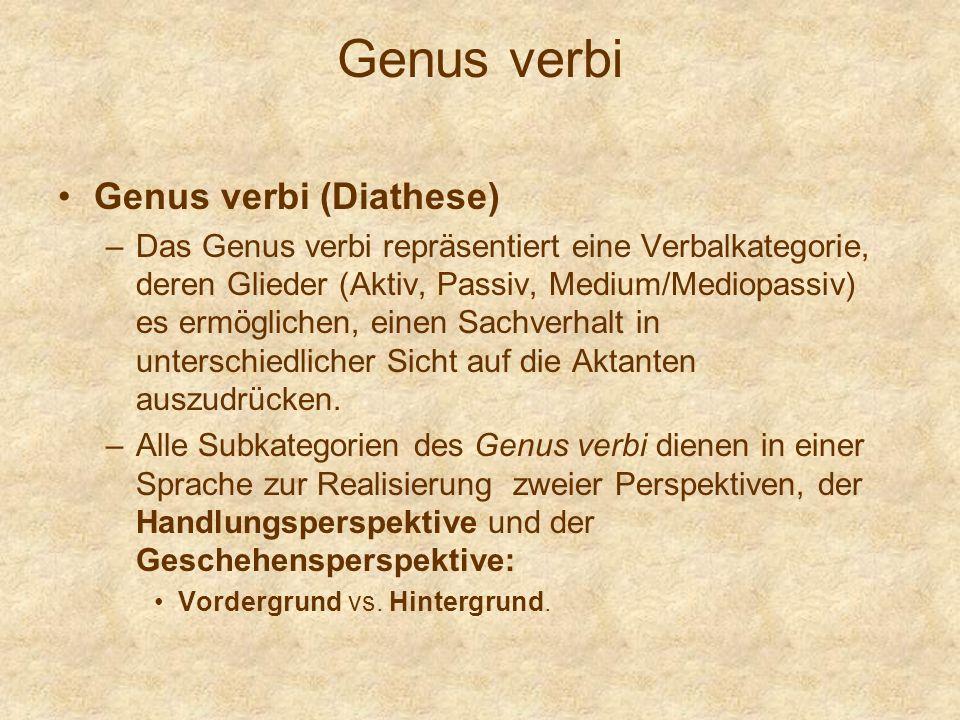 Genus verbi Genus verbi (Diathese) –Das Genus verbi repräsentiert eine Verbalkategorie, deren Glieder (Aktiv, Passiv, Medium/Mediopassiv) es ermöglich
