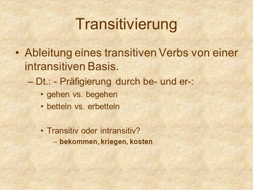 Transitivierung Ableitung eines transitiven Verbs von einer intransitiven Basis. –Dt.: - Präfigierung durch be- und er-: gehen vs. begehen betteln vs.