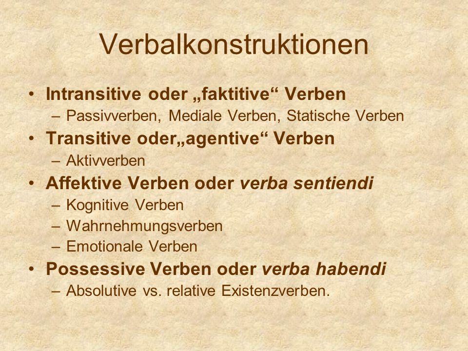 Verbalkonstruktionen Intransitive oder faktitive Verben –Passivverben, Mediale Verben, Statische Verben Transitive oderagentive Verben –Aktivverben Af
