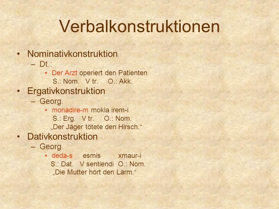 Verbalkonstruktionen Nominativkonstruktion –Dt.: Der Arzt operiert den Patienten S.: Nom. V tr. O.: Akk. Ergativkonstruktion –Georg. monadire-m mokla
