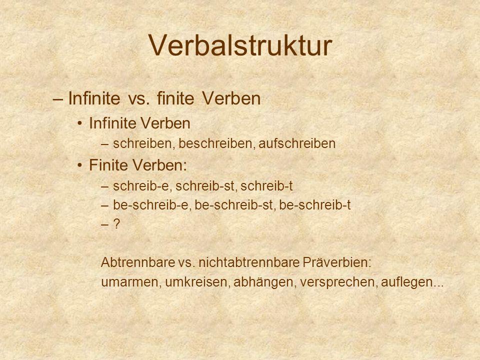 Verbalstruktur –Infinite vs. finite Verben Infinite Verben –schreiben, beschreiben, aufschreiben Finite Verben: –schreib-e, schreib-st, schreib-t –be-