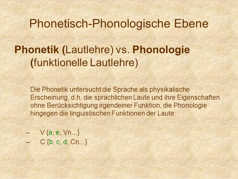 Phonetisch-Phonologische Ebene Phonetik (Lautlehre) vs. Phonologie (funktionelle Lautlehre) Die Phonetik untersucht die Sprache als physikalische Ersc