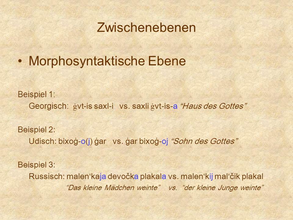 Zwischenebenen Morphosyntaktische Ebene Beispiel 1: Georgisch: ġ vt-is saxl-i vs. saxli ġ vt-is-a Haus des Gottes Beispiel 2: Udisch: bixoġ-o(j) ġar v