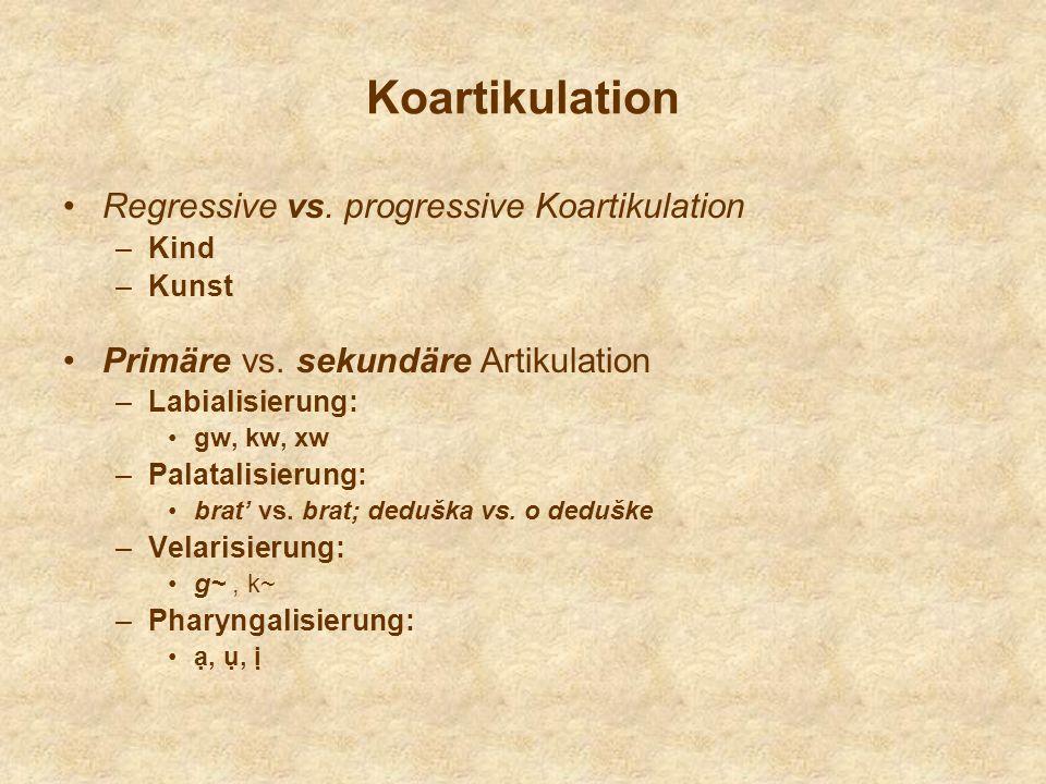 Koartikulation Regressive vs. progressive Koartikulation –Kind –Kunst Primäre vs. sekundäre Artikulation –Labialisierung: gw, kw, xw –Palatalisierung:
