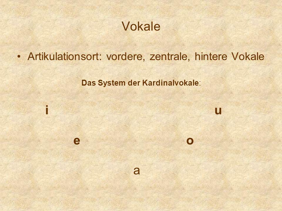Vokale Artikulationsort: vordere, zentrale, hintere Vokale Das System der Kardinalvokale: iuiu eoeo a