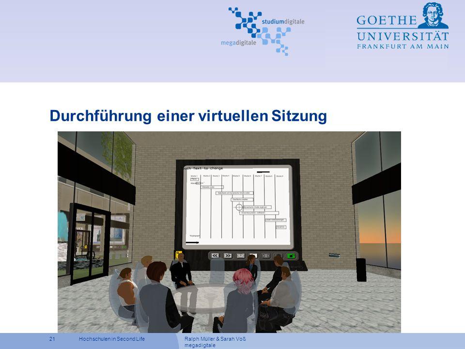 Ralph Müller & Sarah Voß megadigitale 21Hochschulen in Second Life Durchführung einer virtuellen Sitzung