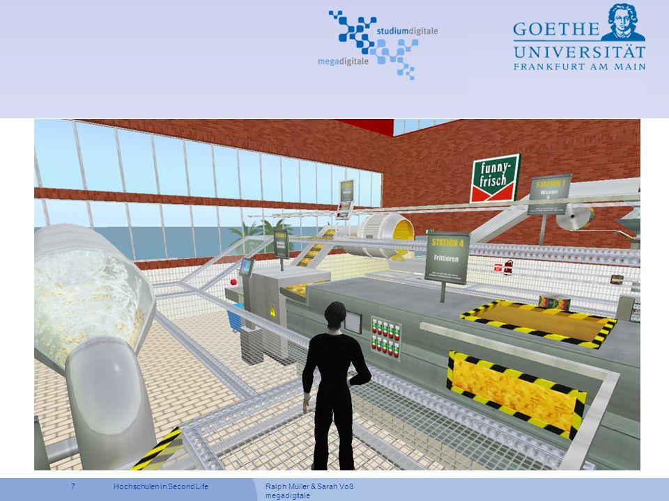 Ralph Müller & Sarah Voß megadigitale 18Hochschulen in Second Life Ziele der Übung Projekt planen und durchführen Theoretische Methoden und Werkzeuge anwenden Projektplan erstellen, Kostenrechnung usw.
