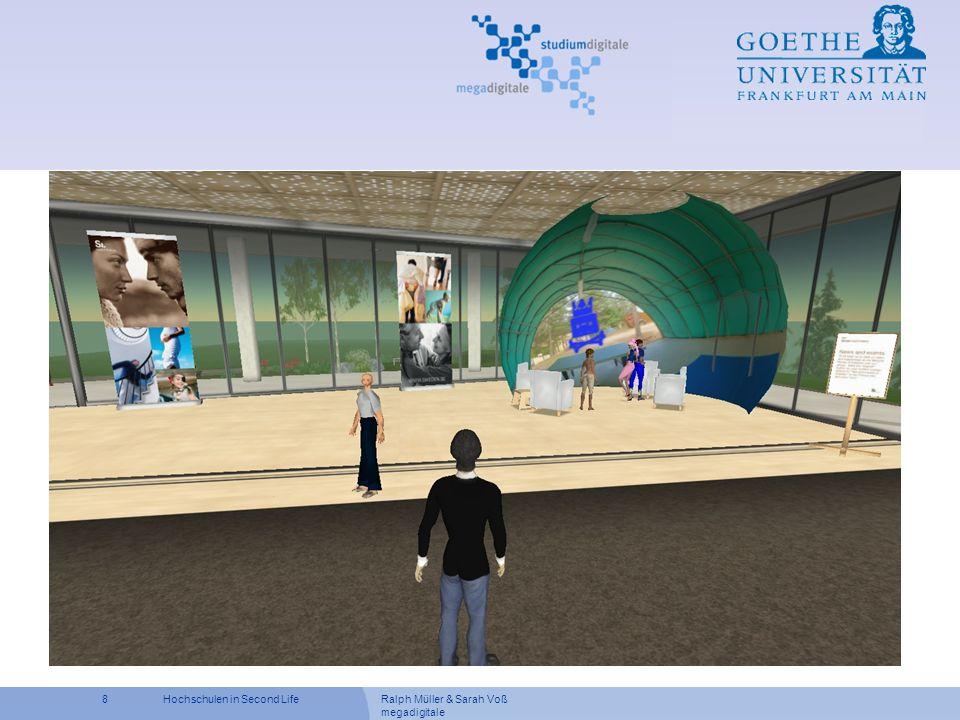 Ralph Müller & Sarah Voß megadigitale 19Hochschulen in Second Life Vorteile vom Einsatz von Second Life Bessere Identifikation mit dem Rollenspielszenario Hemmungen beim Halten einer Präsentation vermindern durch Repräsentation in Form eines Avatars ist der Student anonym Besprechungen sind nicht an eine Übungsstunde gebunden