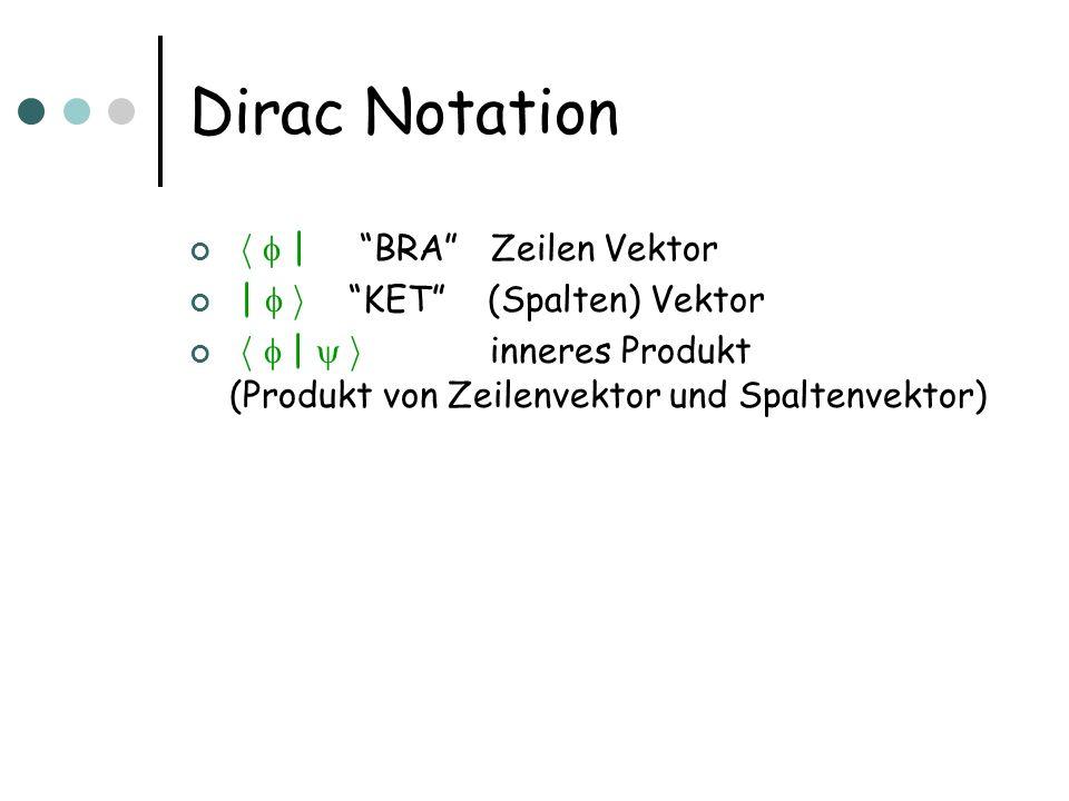 Dirac Notation h   BRA Zeilen Vektor   i KET (Spalten) Vektor h   i inneres Produkt (Produkt von Zeilenvektor und Spaltenvektor)
