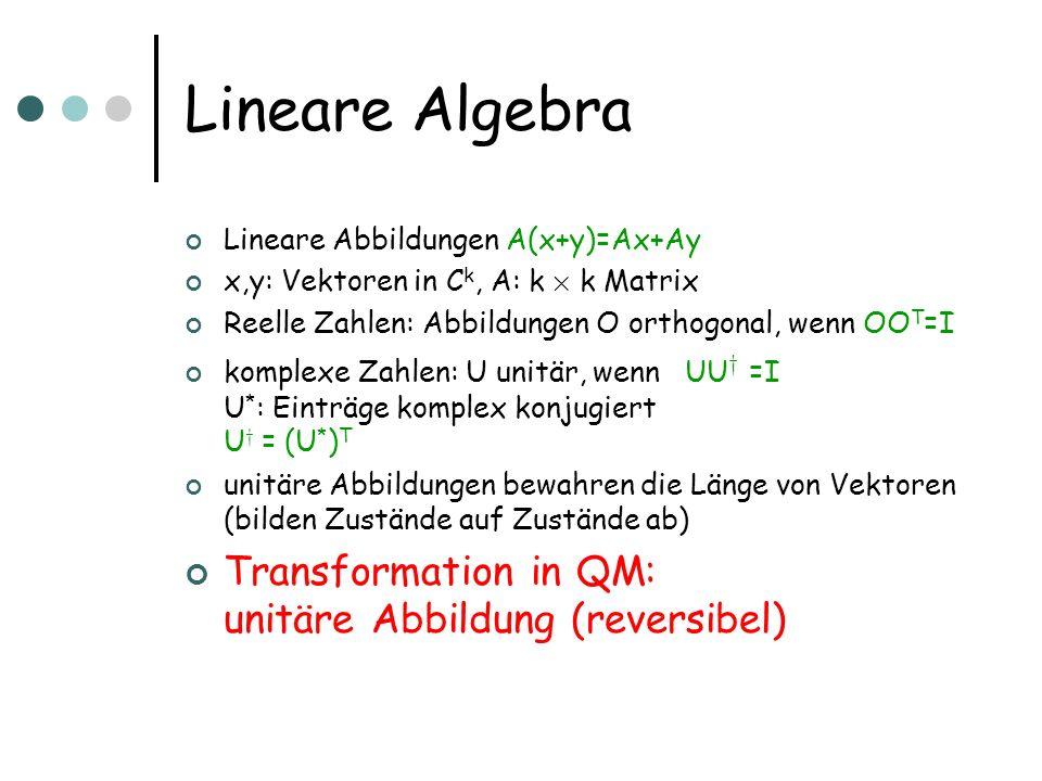 Lineare Algebra Lineare Abbildungen A(x+y)=Ax+Ay x,y: Vektoren in C k, A: k £ k Matrix Reelle Zahlen: Abbildungen O orthogonal, wenn OO T =I komplexe