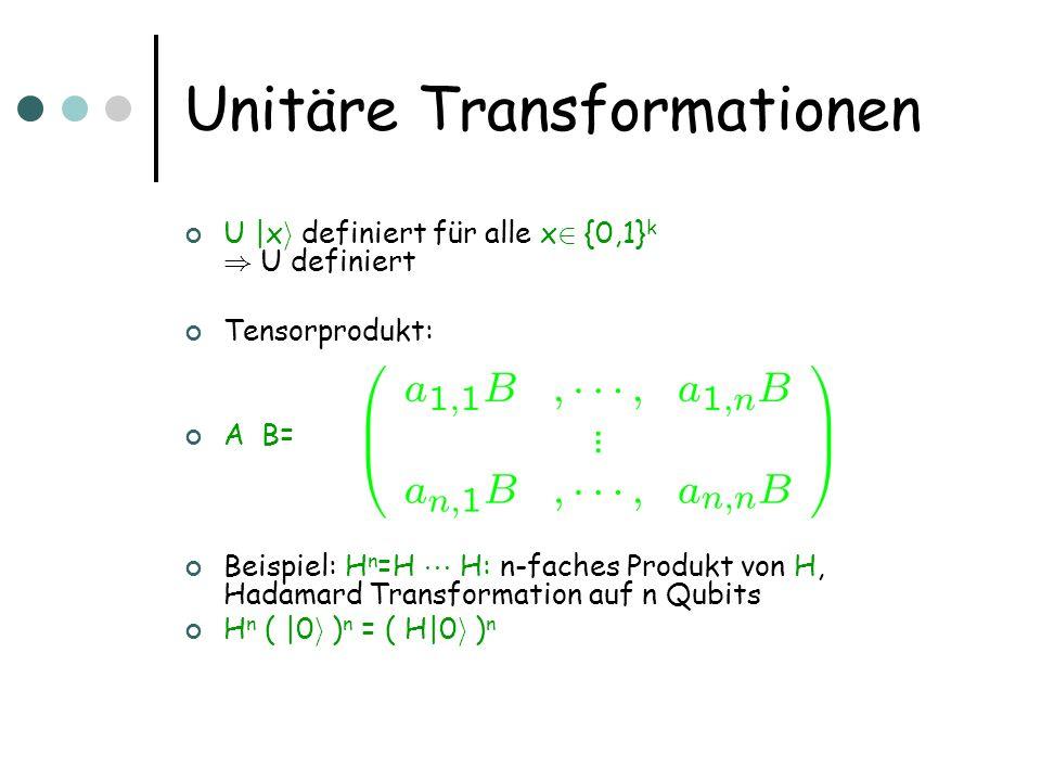 Unitäre Transformationen U  x i definiert für alle x 2 {0,1} k ) U definiert Tensorprodukt: A  B= Beispiel: H  n =H   H: n-faches Produkt von H, H