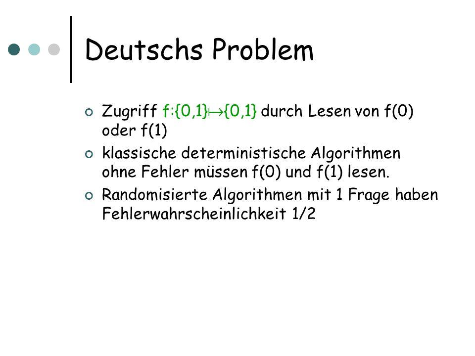 Deutschs Problem Zugriff f:{0,1} {0,1} durch Lesen von f(0) oder f(1) klassische deterministische Algorithmen ohne Fehler müssen f(0) und f(1) lesen.