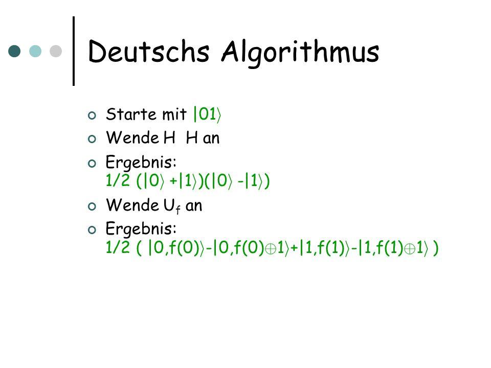 Deutschs Algorithmus Starte mit  01 i Wende H  H an Ergebnis: 1/2 ( 0 i + 1 i )  ( 0 i - 1 i ) Wende U f an Ergebnis: 1/2 (  0,f(0) i - 0,f(0) © 1 i