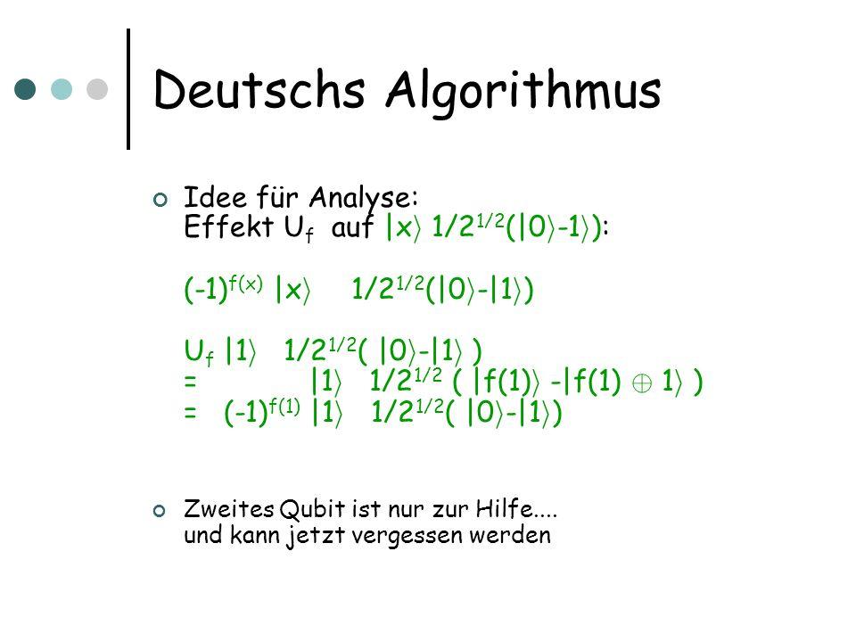 Deutschs Algorithmus Idee für Analyse: Effekt U f auf  x i 1/2 1/2 ( 0 i -1 i ): (-1) f(x)  x i  1/2 1/2 ( 0 i - 1 i ) U f  1 i  1/2 1/2 (  0 i - 1