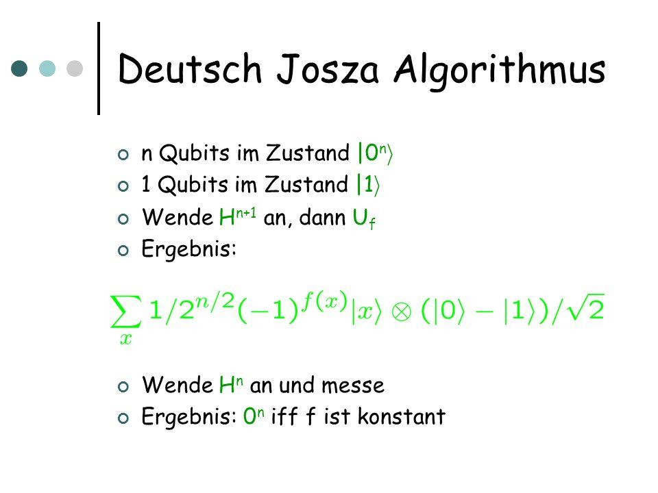Deutsch Josza Algorithmus n Qubits im Zustand  0 n i 1 Qubits im Zustand  1 i Wende H  n+1 an, dann U f Ergebnis: Wende H  n an und messe Ergebnis: