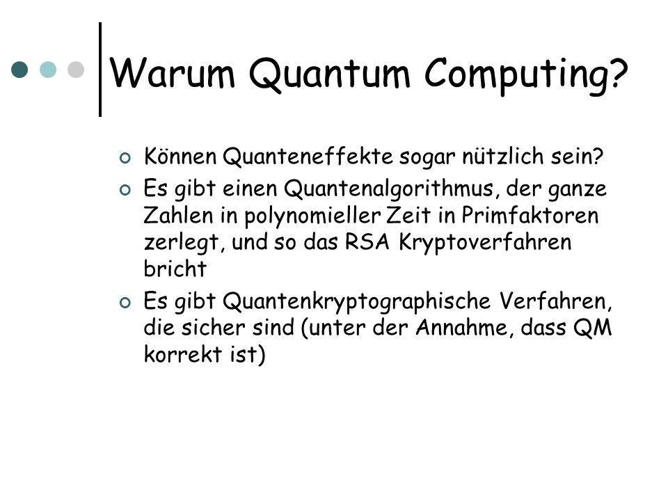 Können Quanteneffekte sogar nützlich sein? Es gibt einen Quantenalgorithmus, der ganze Zahlen in polynomieller Zeit in Primfaktoren zerlegt, und so da