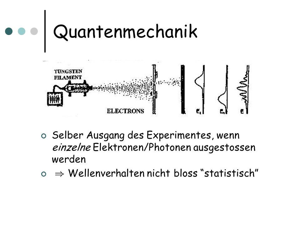 Selber Ausgang des Experimentes, wenn einzelne Elektronen/Photonen ausgestossen werden ) Wellenverhalten nicht bloss statistisch