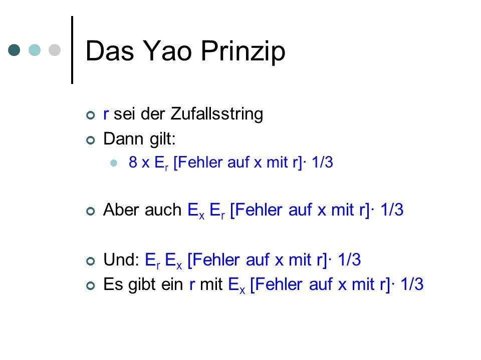 Das Yao Prinzip r sei der Zufallsstring Dann gilt: 8 x E r [Fehler auf x mit r]· 1/3 Aber auch E x E r [Fehler auf x mit r]· 1/3 Und: E r E x [Fehler