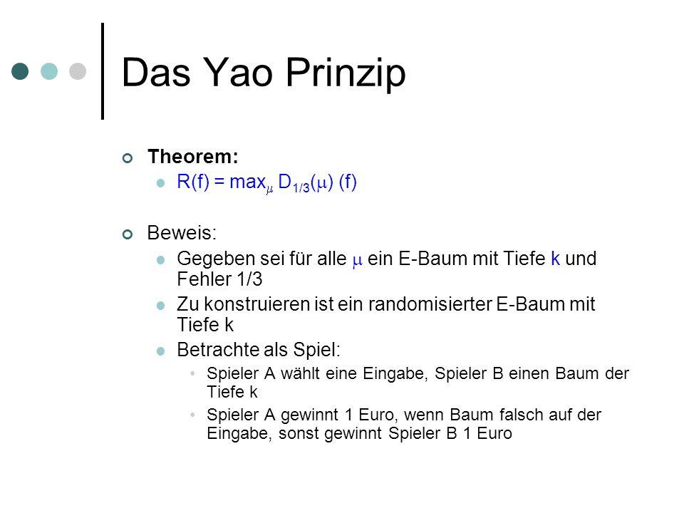 Das Yao Prinzip Theorem: R(f) = max D 1/3 ( ) (f) Beweis: Gegeben sei für alle ein E-Baum mit Tiefe k und Fehler 1/3 Zu konstruieren ist ein randomisi