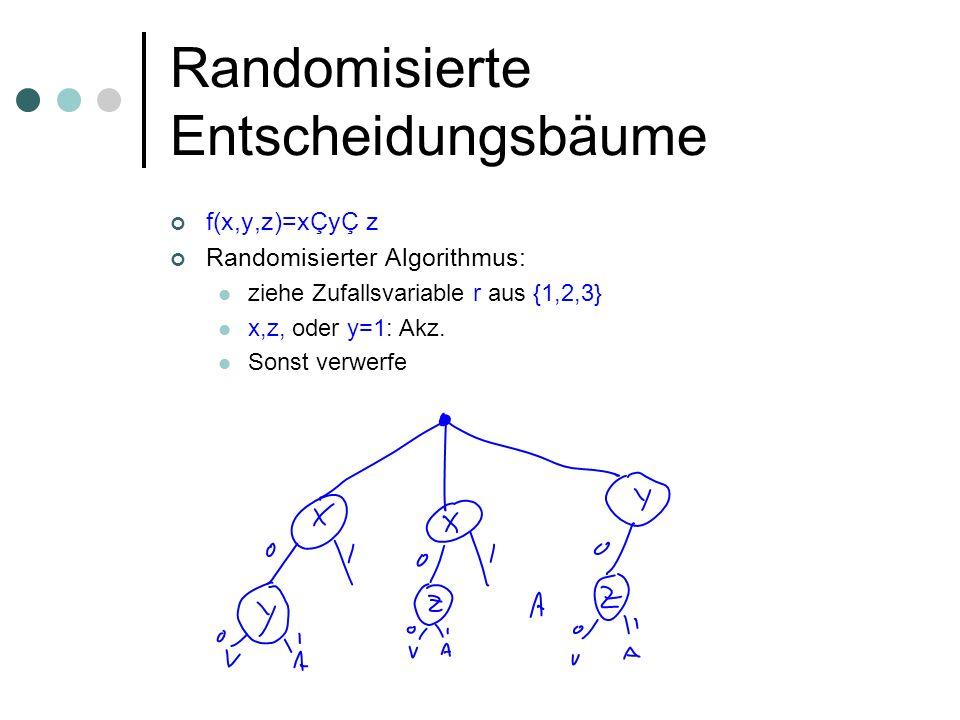 Das Yao Prinzip Theorem: R(f) = max D 1/3 ( ) (f) Beweis: Gegeben sei für alle ein E-Baum mit Tiefe k und Fehler 1/3 Zu konstruieren ist ein randomisierter E-Baum mit Tiefe k Betrachte als Spiel: Spieler A wählt eine Eingabe, Spieler B einen Baum der Tiefe k Spieler A gewinnt 1 Euro, wenn Baum falsch auf der Eingabe, sonst gewinnt Spieler B 1 Euro