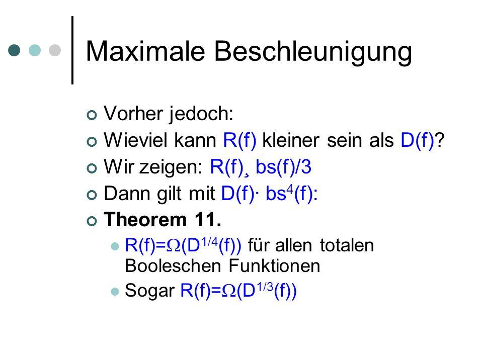 Maximale Beschleunigung Vorher jedoch: Wieviel kann R(f) kleiner sein als D(f)? Wir zeigen: R(f)¸ bs(f)/3 Dann gilt mit D(f)· bs 4 (f): Theorem 11. R(