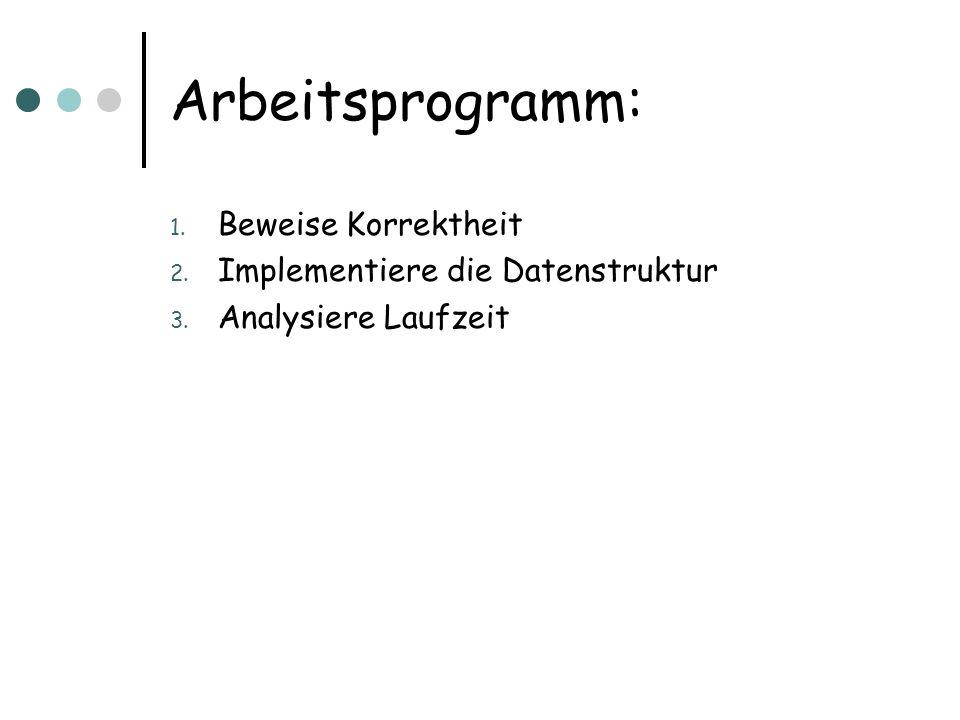 Arbeitsprogramm: 1. Beweise Korrektheit 2. Implementiere die Datenstruktur 3. Analysiere Laufzeit