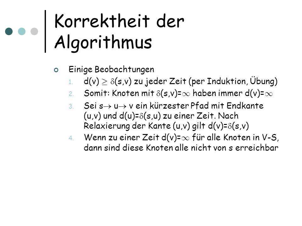 Korrektheit der Algorithmus Einige Beobachtungen 1.