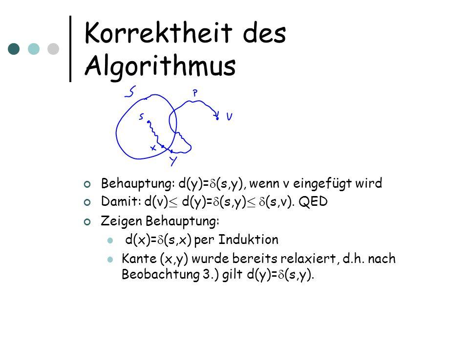 Korrektheit des Algorithmus Behauptung: d(y)= (s,y), wenn v eingefügt wird Damit: d(v) · d(y)= (s,y) · (s,v).