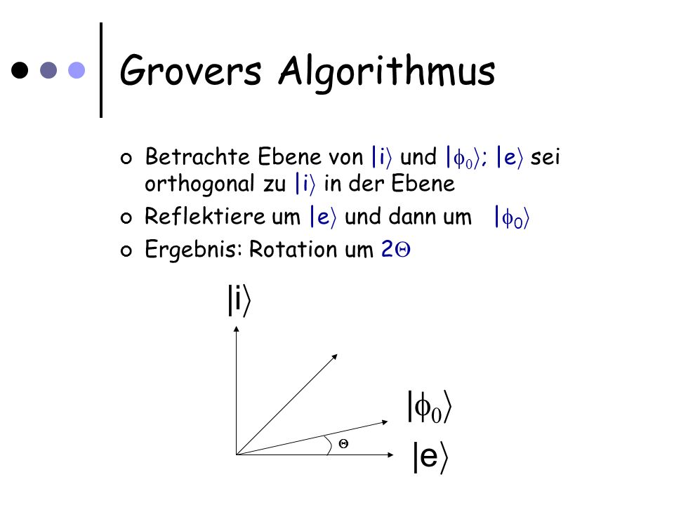 Grovers Algorithmus Betrachte Ebene von |i i und | i ; |e i sei orthogonal zu |i i in der Ebene Reflektiere um |e i und dann um | 0 i Ergebnis: Rotation um 2 |i i |e i | i