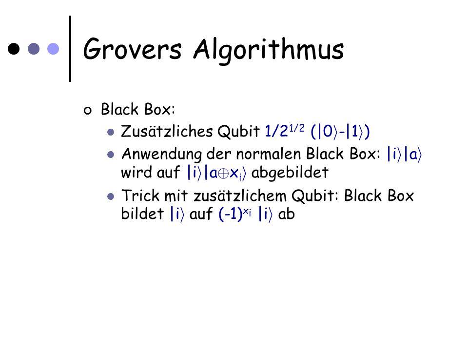 Grovers Algorithmus Black Box: Zusätzliches Qubit 1/2 1/2 (|0 i -|1 i ) Anwendung der normalen Black Box: |i i |a i wird auf |i i |a © x i i abgebildet Trick mit zusätzlichem Qubit: Black Box bildet |i i auf (-1) x i |i i ab
