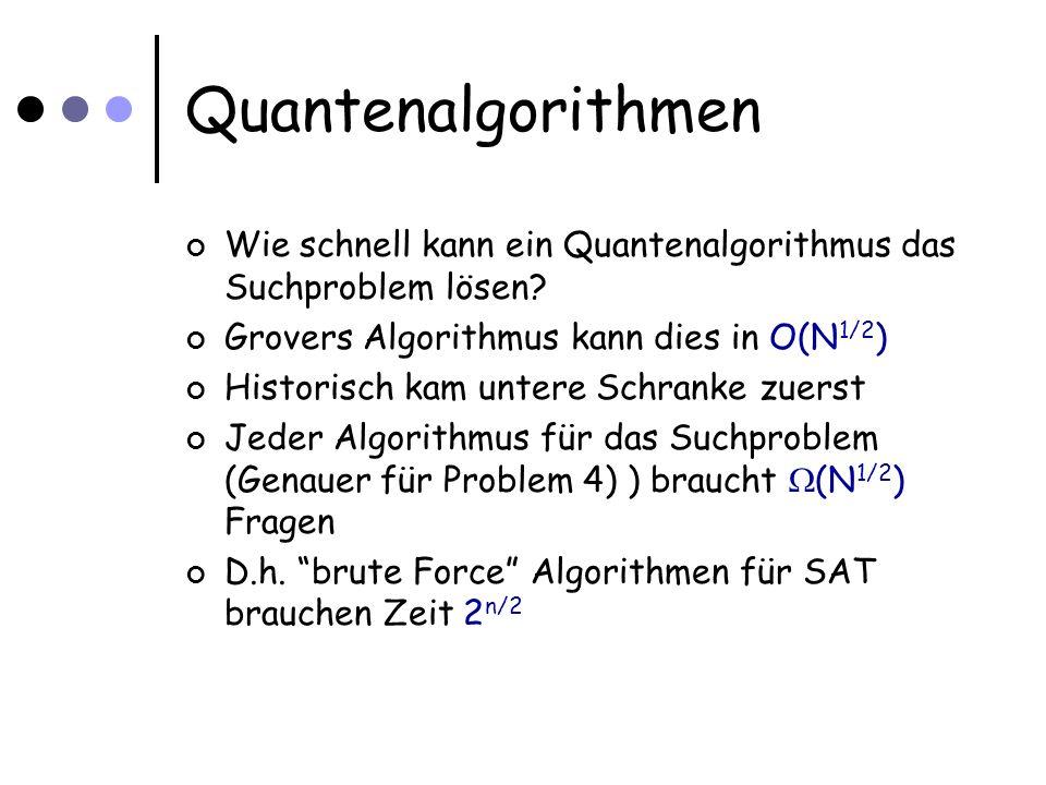 Quantenalgorithmen Wie schnell kann ein Quantenalgorithmus das Suchproblem lösen.