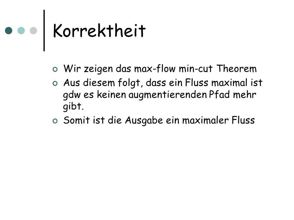 Korrektheit Wir zeigen das max-flow min-cut Theorem Aus diesem folgt, dass ein Fluss maximal ist gdw es keinen augmentierenden Pfad mehr gibt. Somit i