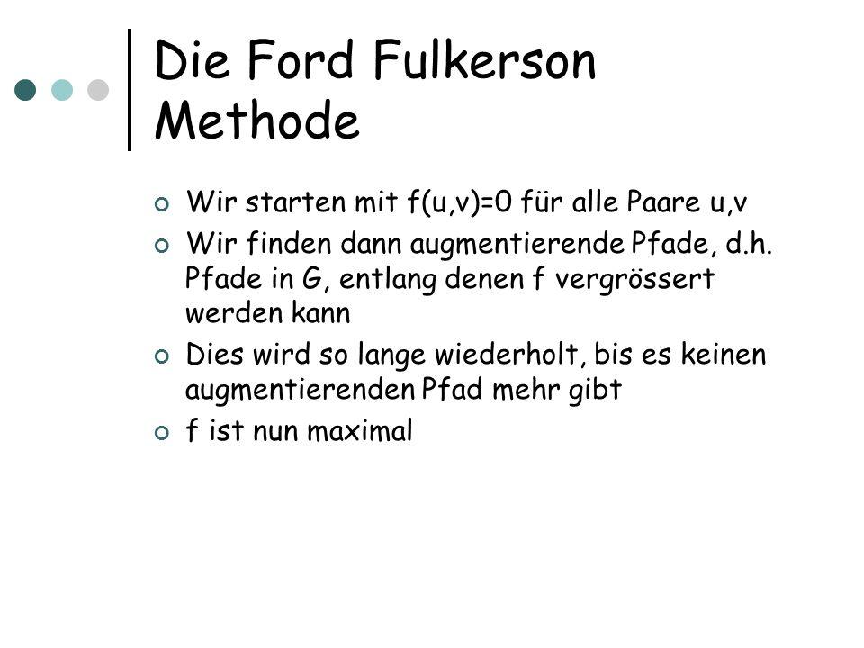 Die Ford Fulkerson Methode Wir starten mit f(u,v)=0 für alle Paare u,v Wir finden dann augmentierende Pfade, d.h. Pfade in G, entlang denen f vergröss