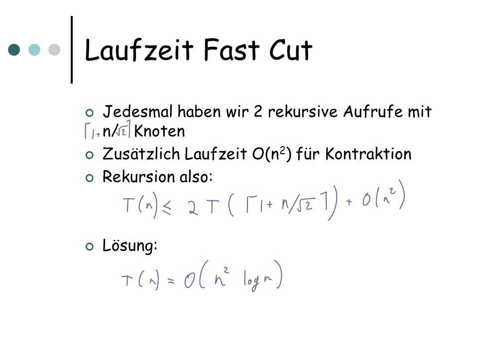 Laufzeit Fast Cut Jedesmal haben wir 2 rekursive Aufrufe mit n/ Knoten Zusätzlich Laufzeit O(n 2 ) für Kontraktion Rekursion also: Lösung: