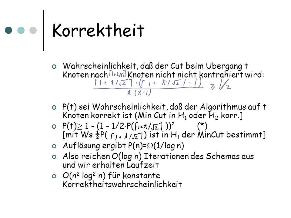 Die Abschätzung k=O(log t) sei die Tiefe der Rekursion Betrachte p(k), eine untere Schranke für Erfolgsws.