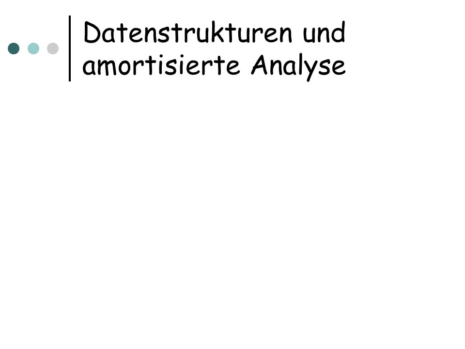 Binomial Heaps Die Datenstruktur speichert Datensätze mit Schlüsseln Die Datenstruktur unterstützt folgende Operationen: MakeHeap(): erzeuge leere Struktur Insert(H,x,k): füge Element x mit Schlüssel k ein Minimum (H): bestimme Element mit min.