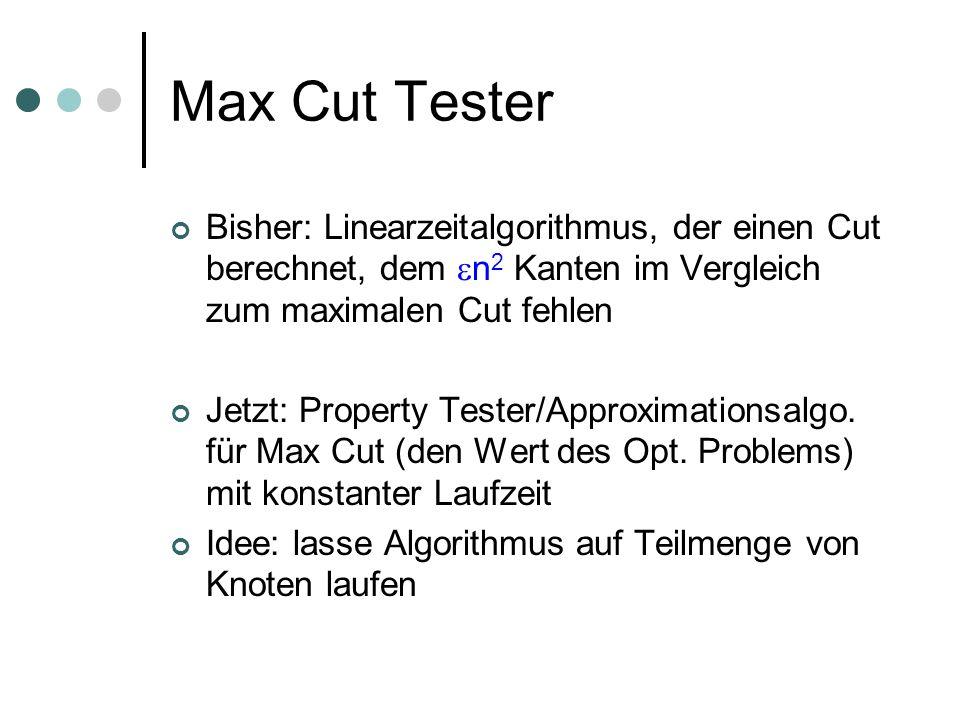 Max Cut Tester Bisher: Linearzeitalgorithmus, der einen Cut berechnet, dem n 2 Kanten im Vergleich zum maximalen Cut fehlen Jetzt: Property Tester/Approximationsalgo.