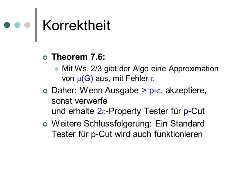 Korrektheit Theorem 7.6: Mit Ws. 2/3 gibt der Algo eine Approximation von (G) aus, mit Fehler Daher: Wenn Ausgabe > p-, akzeptiere, sonst verwerfe und