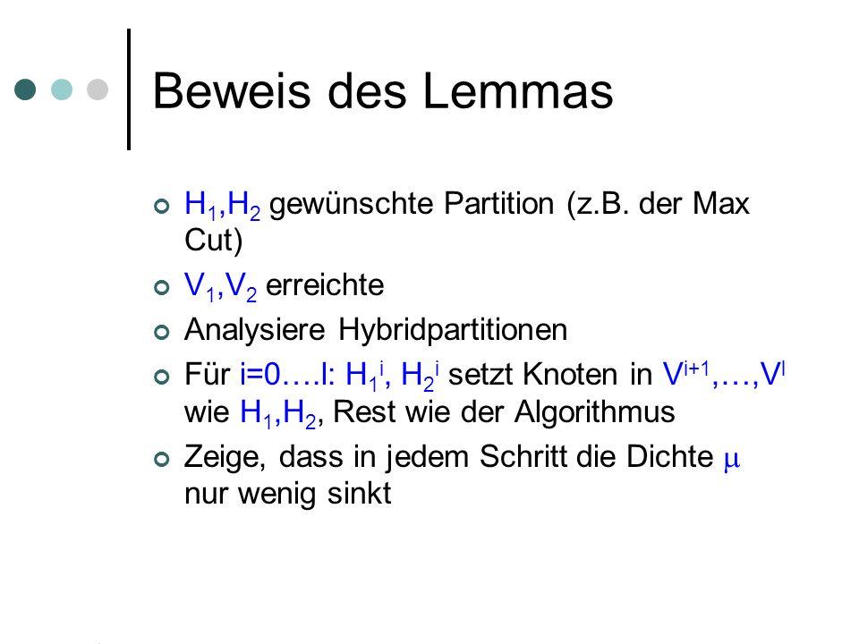 Beweis des Lemmas H 1,H 2 gewünschte Partition (z.B. der Max Cut) V 1,V 2 erreichte Analysiere Hybridpartitionen Für i=0….l: H 1 i, H 2 i setzt Knoten