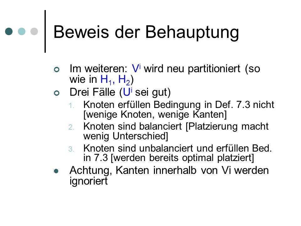 Beweis der Behauptung Im weiteren: V i wird neu partitioniert (so wie in H 1, H 2 ) Drei Fälle (U i sei gut) 1. Knoten erfüllen Bedingung in Def. 7.3