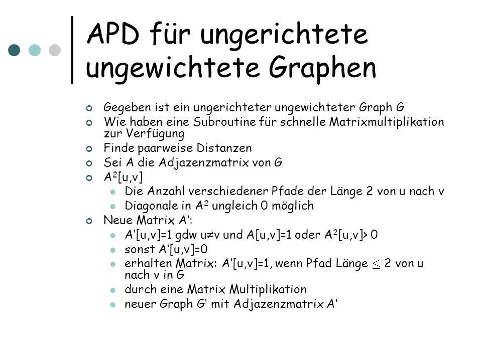 APD für ungerichtete ungewichtete Graphen Gegeben ist ein ungerichteter ungewichteter Graph G Wie haben eine Subroutine für schnelle Matrixmultiplikation zur Verfügung Finde paarweise Distanzen Sei A die Adjazenzmatrix von G A 2 [u,v] Die Anzahl verschiedener Pfade der Länge 2 von u nach v Diagonale in A 2 ungleich 0 möglich Neue Matrix A: A[u,v]=1 gdw u v und A[u,v]=1 oder A 2 [u,v]> 0 sonst A[u,v]=0 erhalten Matrix: A[u,v]=1, wenn Pfad Länge · 2 von u nach v in G durch eine Matrix Multiplikation neuer Graph G mit Adjazenzmatrix A