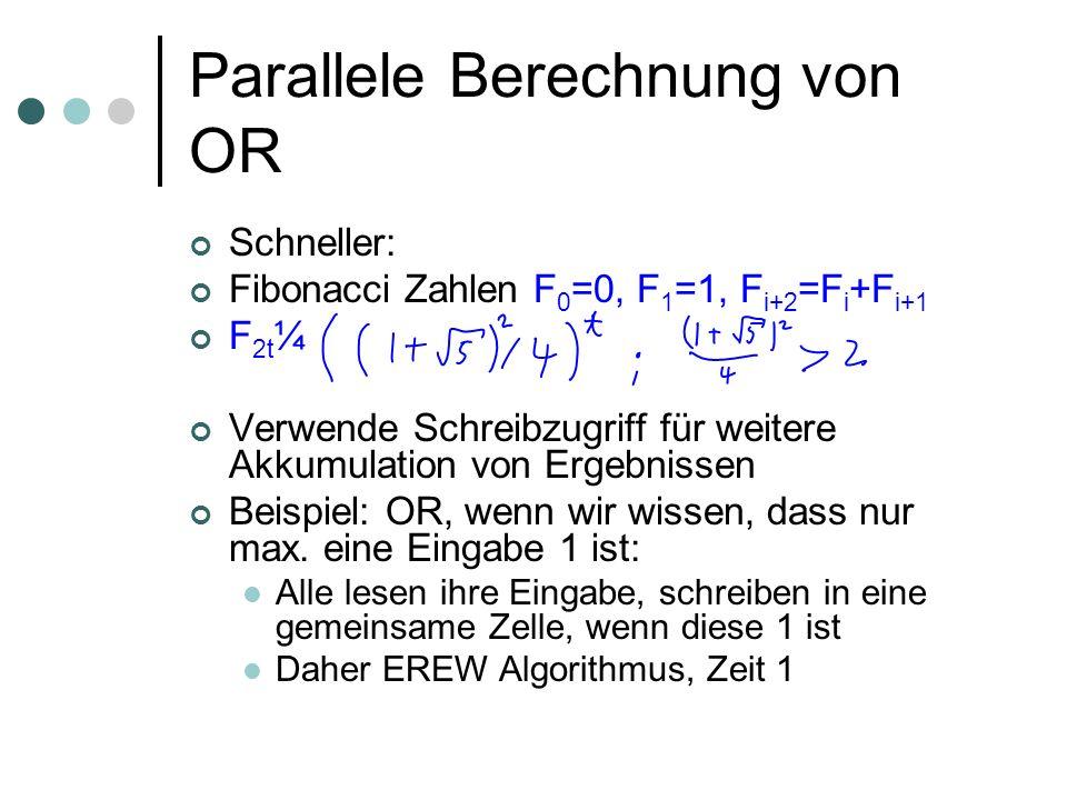 Parallele Berechnung von OR Schneller: Fibonacci Zahlen F 0 =0, F 1 =1, F i+2 =F i +F i+1 F 2t ¼ Verwende Schreibzugriff für weitere Akkumulation von Ergebnissen Beispiel: OR, wenn wir wissen, dass nur max.