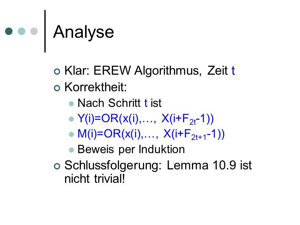 Analyse Klar: EREW Algorithmus, Zeit t Korrektheit: Nach Schritt t ist Y(i)=OR(x(i),…, X(i+F 2t -1)) M(i)=OR(x(i),…, X(i+F 2t+1 -1)) Beweis per Induktion Schlussfolgerung: Lemma 10.9 ist nicht trivial!