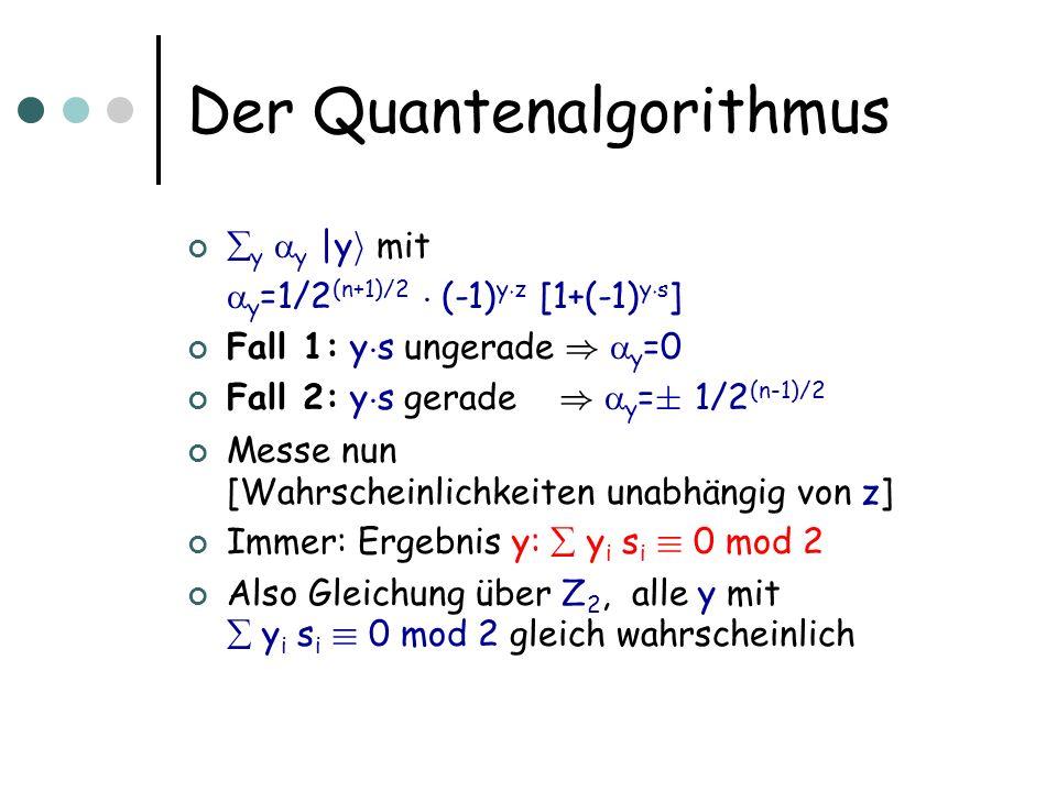 Der Quantenalgorithmus y y |y i mit y =1/2 (n+1)/2 ¢ (-1) y ¢ z [1+(-1) y ¢ s ] Fall 1: y ¢ s ungerade ) y =0 Fall 2: y ¢ s gerade ) y = § 1/2 (n-1)/2 Messe nun [Wahrscheinlichkeiten unabhängig von z] Immer: Ergebnis y: y i s i ´ 0 mod 2 Also Gleichung über Z 2, alle y mit y i s i ´ 0 mod 2 gleich wahrscheinlich