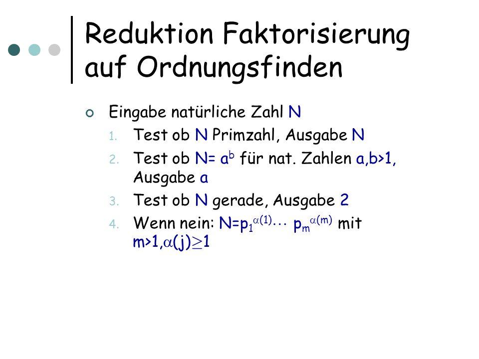 Reduktion Faktorisierung auf Ordnungsfinden Eingabe natürliche Zahl N 1.