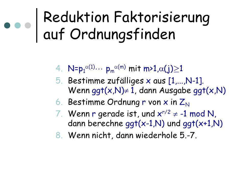 Reduktion Faktorisierung auf Ordnungsfinden 4.N=p 1 (1) p m (m) mit m>1, (j) ¸ 1 5.Bestimme zufälliges x aus [1,...,N-1].