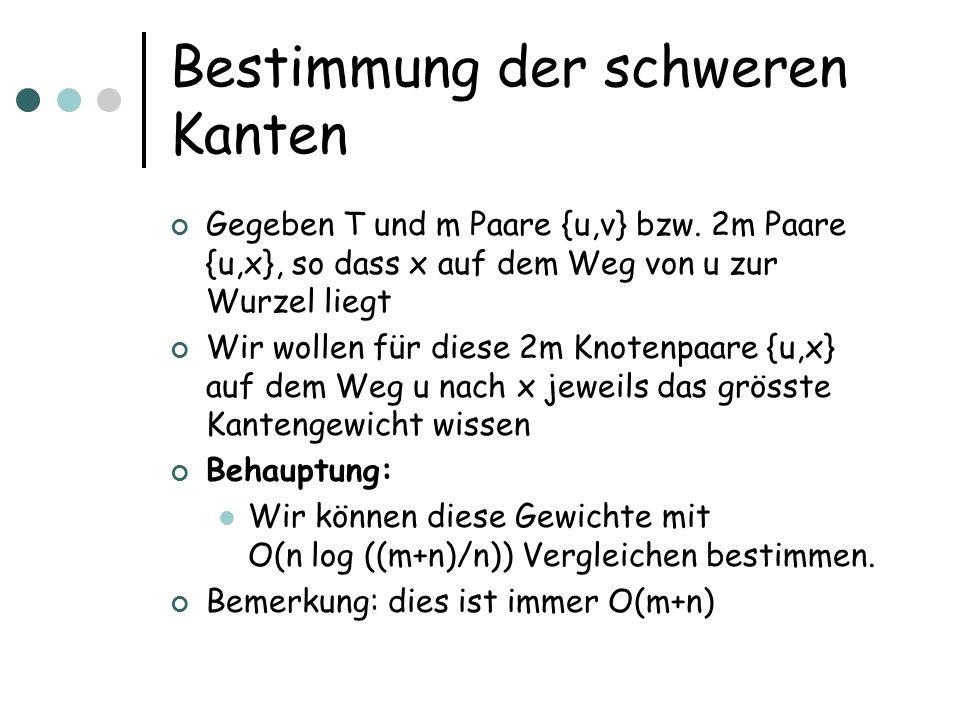 Bestimmung der schweren Kanten Gegeben T und m Paare {u,v} bzw.